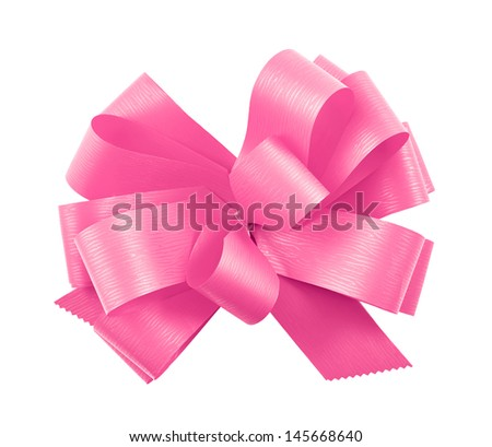 Pink gift ribbon glossy bow isolated over white background