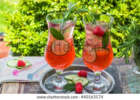 Pink gin and tonic  cocktail with raspberries, cucumber and mint - stock photo