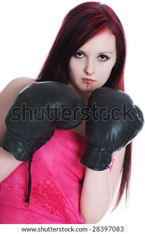 pink girl boxer on a white background