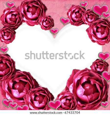 Pink glamour roses photo frame with Hearts - stock photo