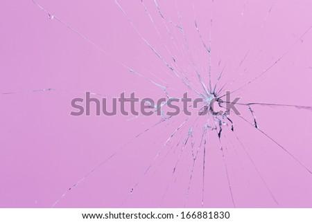 pink glass broken - stock photo