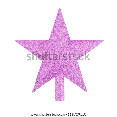 pink glittering star shaped Christmas ornament isolated on white background - stock photo