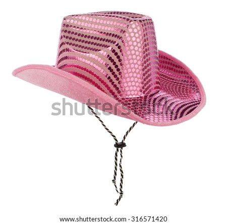 Pink glittery cowgirl hat, isolated on pure white background