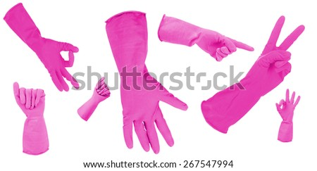 Pink gloves gesturing numbers isolated on white - stock photo