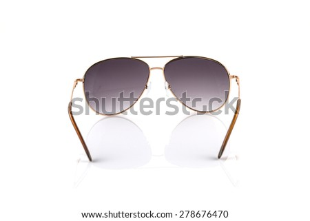 Pink gold Elegant sunglasses isolated on  white background - stock photo