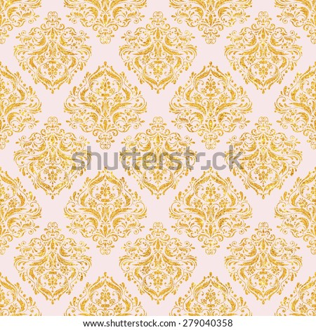 Pink & Gold Glitter Damask Pattern seamless, Texture Background, Digital Paper for Scrapbook