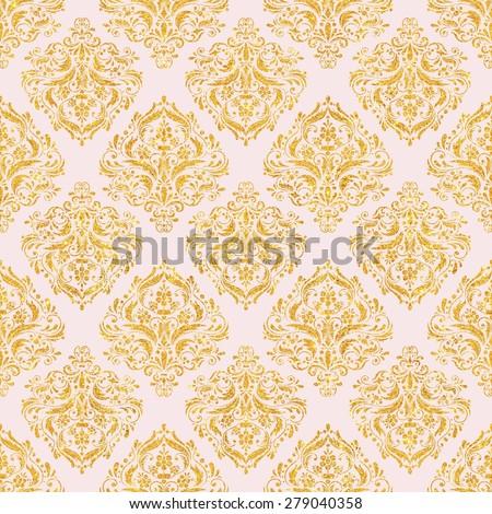 Pink & Gold Glitter Damask Pattern seamless, Texture Background, Digital Paper for Scrapbook  - stock photo
