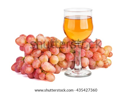 Pink grape and glass of white wine isolated on white background - stock photo