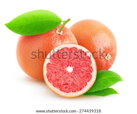 Pink grapefruits isolated on white background, with clipping path - stock photo