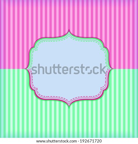 Pink Green Striped Invitation Card with Vignette and Place for Text.
