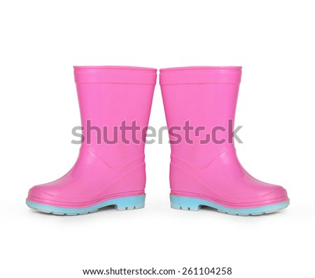 Pink gumboots on white background. - stock photo