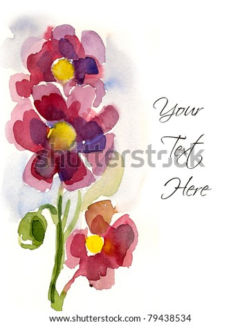 Pink hand-painted flowers for your greeting card - stock photo