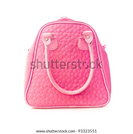 pink handbag isolated on white background - stock photo