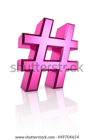 Pink hash symbol isolated on white background. 3d rendering - stock photo