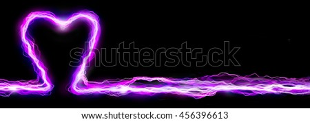 Pink heart electric lightning spark banner header