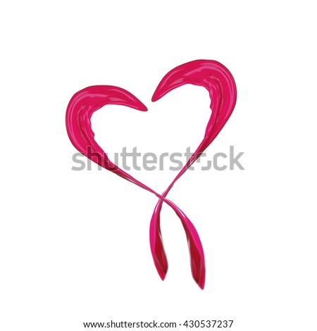 Pink heart made of paint splash isolated on white