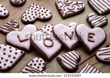 Pink heart shape cookies for Valentine�´s Day