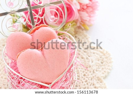 Pink heart shaped macaroon in gift box for Valentine's day image