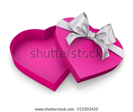 Pink Heart Shaped Open Gift Box Stock Illustration 551709898 ...