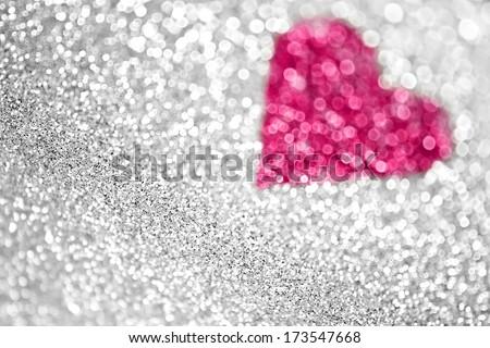 Pink heart silver glitter background - stock photo