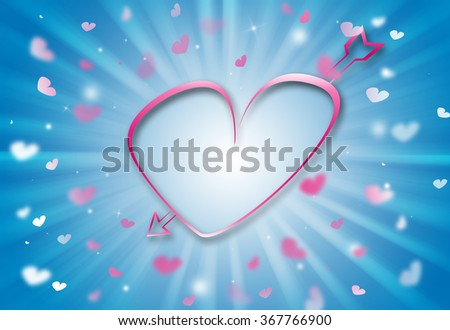 Pink Heart valentine day glitter sparkles defocused rays lights bokeh blue abstract background. - stock photo