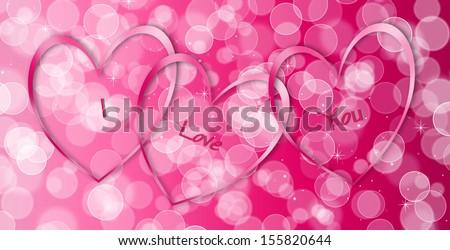 Pink Hearts - I Love You - stock photo