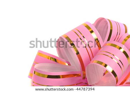 Pink holiday ribbon for presents and gifts over white