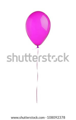 Pink hot air flying balloon isolated on white background - stock photo