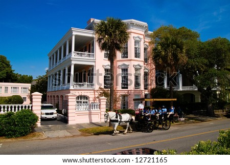 Pink House in Charleston, SC - stock photo