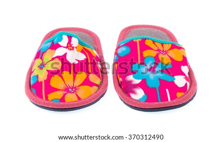 Pink House slippers isolated on white background