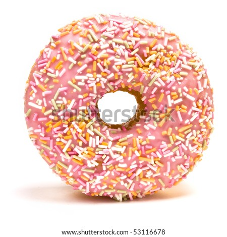 Pink Iced Doughnut covered in sprinkles isolated against white background.