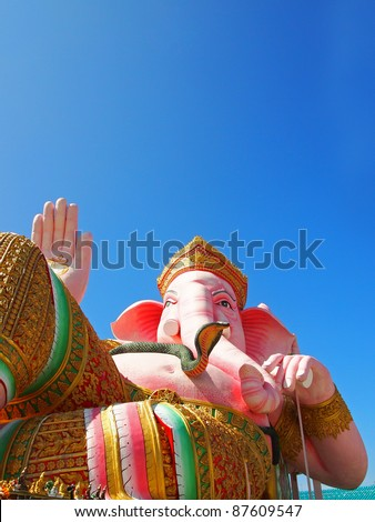 Pink indian god in relaxing on blue sky and white cloud,Thailand