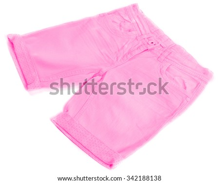 Pink jeans shorts isolated on white background - stock photo