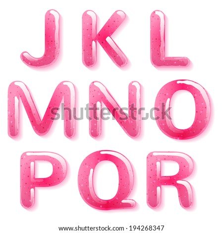 Pink jelly alphabet. Raster version.