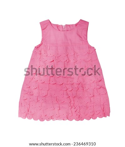 Pink knitted baby dress on a white background