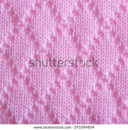 Pink knitting wool texture - stock photo
