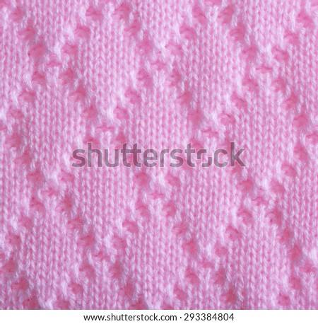 Pink knitting wool texture - stock photo