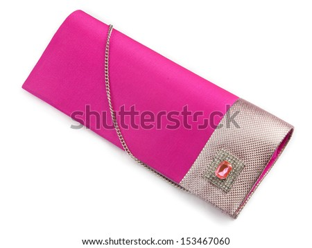 pink Ladies purse over the white background - stock photo