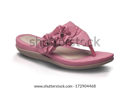 Pink lady leather shoe style isolated on white background