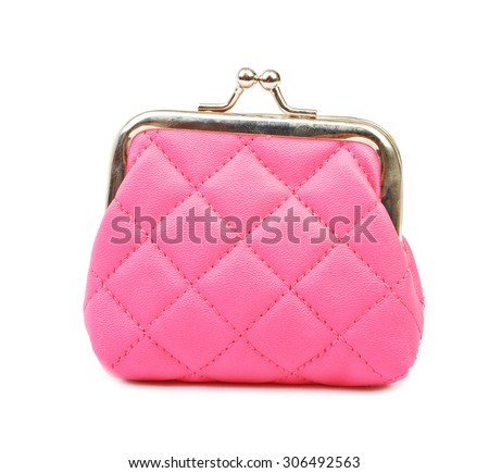 Pink lady's purse on a white background isolated