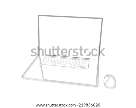 Pink laptop on a white background. Pencil drawing  - stock photo
