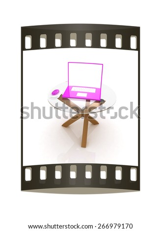 pink laptop on an exclusive table on a white background. The film strip - stock photo