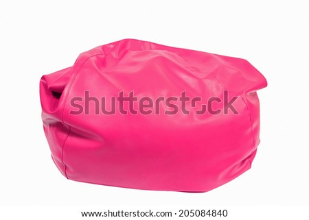 Pink leather beanbag isolated on white background - stock photo
