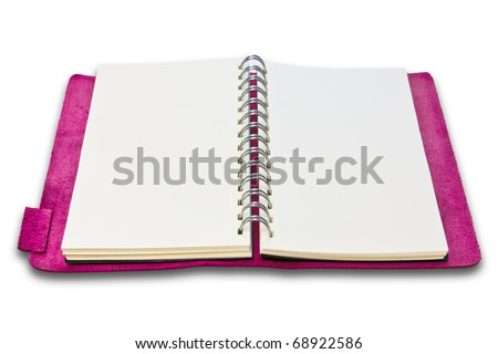 pink leather case note book isolated on white background - stock photo
