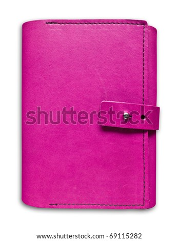 pink leather case notebook isolated on white background