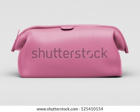 Pink leather clutch closeup on a light background