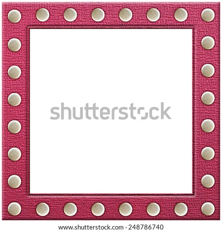 Pink Leather picture frame isolated on white background - stock photo