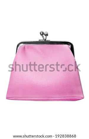 Pink leather vintage purse isolated over white - stock photo