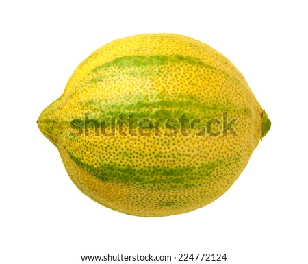 Pink Lemon isolated on a white background. Pink lemons are variegated, with green stripes on the outside, and a rose hued pink flesh inside. They belong to the Eureka lemon family. - stock photo