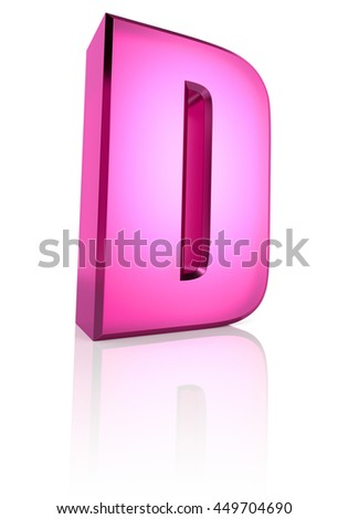 Pink letter D isolated on white background. 3d rendering - stock photo